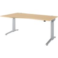 Schreibtisch mit Ansatz Planova Ergostyle , Ansatz links, einst. elektr. höheneinstellbar,  B1800 mm, Ahorn-Dekor/weißalu