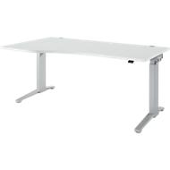 Schreibtisch mit Ansatz Planova Ergostyle , Ansatz links, einst. elektr. höheneinstellbar,  B1800 mm, lichtgrau/weißalu