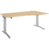 Schreibtisch mit Ansatz Planova Ergostyle , Ansatz rechts, einst. elektr. höheneinstellbar,  B1800 mm, Ahorn-Dekor/weißalu