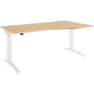 Schreibtisch mit Ansatz Planova Ergostyle , Ansatz rechts, einst. elektr. höheneinstellbar,  B1800 mm, B1800mm, Ahorn-Dekor/weiß
