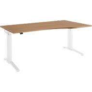 Schreibtisch mit Ansatz Planova Ergostyle , Ansatz rechts, einst. elektr. höheneinstellbar,  B1800 mm, Kirsche Romana-Dekor/weiß