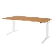 Schreibtisch mit Ansatz PLANOVA ERGOSTYLE, C-Fuß, Ansatz links, 2-stufig elektrisch h.verstellbar, B 1800 mm, B.-Dekor/weiß
