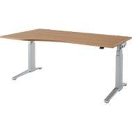 Schreibtisch mit Ansatz PLANOVA ERGOSTYLE, C-Fuß, Ansatz links, 2-stufig elektrisch h.verstellbar, B 1800 mm, K.R.Dekor/w.alu