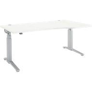 Schreibtisch mit Ansatz PLANOVA ERGOSTYLE, C-Fuß, Ansatz rechts, 2-stufig elektrisch h.verstellbar, B 1800 mm, weiß/w.alu