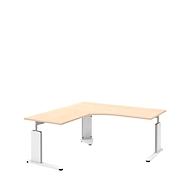 Schreibtisch mit Ansatztisch links BARI, C-Fuß, Form B, Freiform, B 1800/800 mm, Ahorn-Dekor