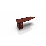 Schreibtisch mit Container X-TIME-WORK, Freiform, B 1900/1000 x T 600 x H 740 mm, links, Wenge-Dekor/Alu