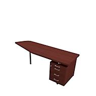 Schreibtisch mit Container X-TIME-WORK, Freiform, B 1900/1000 x T 600 x H 740 mm, rechts, Wenge-Dekor/alu