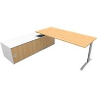 Schreibtisch mit Sideboard links PHENOR, C-Fuß, Rechteck, Buche-Dekor