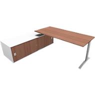 Schreibtisch mit Sideboard links PHENOR, C-Fuß, Rechteck, Nuss Canaletto-Dekor