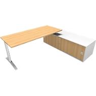 Schreibtisch mit Sideboard rechts PHENOR, C-Fuß, Rechteck, Buche-Dekor