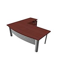 Schreibtisch mit Sideboard X-TIME-WORK, 4-Fuß, Bogen, B 2000 x T 900 x H 740 mm, Wenge-Dekor/alu