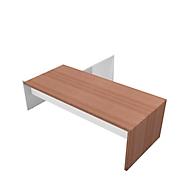 Schreibtisch mit Sideboard X-TIME-WORK, Wange, Rechteck, Anbau weiß, rechts, B 2200 x T 2200 x H 730 mm, Nuss Canaletto-Dekor