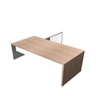 Schreibtisch mit Sideboard X-TIME-WORK, Wange, Rechteck, Anbau weiß, rechts, B 2200 x T 2200 x H 730 mm, Ulme