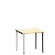 Schreibtisch MODENA FLEX, 4-Fuß-Quadratrohr, B 800 x T 800, Ahorn