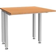 Schreibtisch MODENA FLEX, 4-Fuß-Quadratrohr, verkürzte Seitenteile, B 800 mm, buche