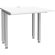 Schreibtisch MODENA FLEX, 4-Fuß-Quadratrohr, verkürzte Seitenteile, B 800 mm, weiß