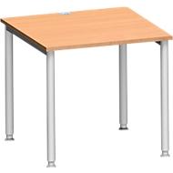 Schreibtisch MODENA FLEX, 4-Fuß-Rundrohr, B 800 x T 800 mm, Buche/weißalu