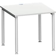 Schreibtisch MODENA FLEX, 4-Fuß-Rundrohr, B 800 x T 800 mm, lichtgrau/weißalu