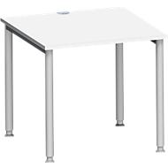 Schreibtisch MODENA FLEX, 4-Fuß-Rundrohr, B 800 x T 800 mm, weiß/weißalu