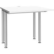Schreibtisch MODENA FLEX, Breite 800 mm, beidseitig verkürzt, weiß