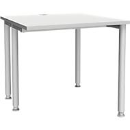 Schreibtisch MODENA FLEX, Breite 800 mm, einseitig verkürzt, lichtgrau
