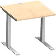 Schreibtisch MODENA FLEX, C-Fuß-Rechteckrohr, B 800 x T 800 mm, Ahorn/weißalu