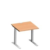 Schreibtisch MODENA FLEX, C-Fuß-Rechteckrohr, B 800 x T 800 mm, Buche/weißalu