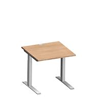 Schreibtisch MODENA FLEX, C-Fuß-Rechteckrohr, B 800 x T 800 mm, Kirsche Romana/weißalu