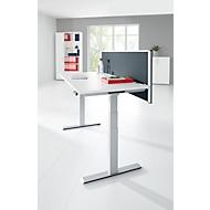 Schreibtisch MODENA FLEX, elektr. höhenverstellbar, Rechteck, T-Fuß, 1600 x  645-1290 mm, weiß + Trennwand