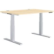 Schreibtisch MODENA FLEX, elektr. höhenverstellbar, T-Fuß, B 1200 x T 800 mm, Ahorn