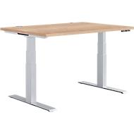 Schreibtisch MODENA FLEX, elektr. höhenverstellbar, T-Fuß, B 1200 x T 800 mm, Kirsche Romana