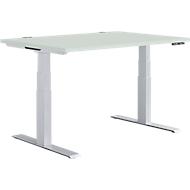 Schreibtisch MODENA FLEX, elektrisch höhenverstellbar, Rechteck, T-Fuß, B 1200 x T 800 x H 645-1290 mm, lichtgrau/weißalu + Memorypanel