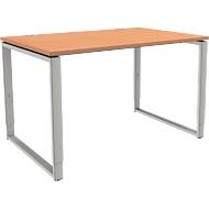 Schreibtisch Modena Flex, höheneinstellbar, Rechteckform, Bügelfuß, Breite 1200 mm, Buche-Dekor