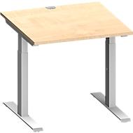 Schreibtisch MODENA FLEX, T-Fuß-Rechteckrohr, B 800 x T 800 mm, Ahorn/weißalu