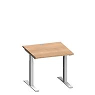 Schreibtisch MODENA FLEX, T-Fuß-Rechteckrohr, B 800 x T 800 mm, Kirsche Romana/weißalu