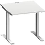 Schreibtisch MODENA FLEX, T-Fuß-Rechteckrohr, B 800 x T 800 mm, lichtgrau/weißalu