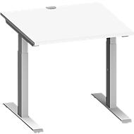 Schreibtisch MODENA FLEX, T-Fuß-Rechteckrohr, B 800 x T 800 mm, weiß/weißalu