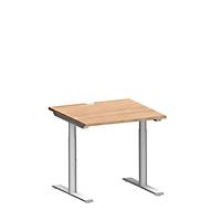 Schreibtisch MODENA FLEX, T-Fuß-Rundrohr, B 800 x T 800 mm, kirsche-romana/weiß