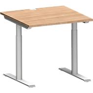 Schreibtisch MODENA FLEX, T-Fuß-Rundrohr, B 800 x T 800 mm, kirsche-romana/weißalu