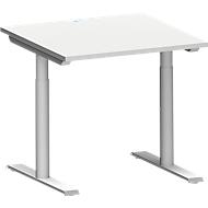 Schreibtisch MODENA FLEX, T-Fuß-Rundrohr, B 800 x T 800 mm, lichtgrau