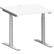 Schreibtisch MODENA FLEX, T-Fuß-Rundrohr, B 800 x T 800 mm, weiß/weiß