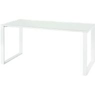 Schreibtisch MONTERIA, Rechteck, Glasauflage, Kufengestell, B 1600 x T 800 mm, weiß