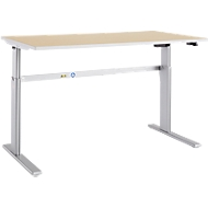 Schreibtisch Moxxo IQ, elektrisch höhenverstellbar, Rechteck, C-Fuß, B 1600 x T 800 x H 725-1185 mm, Ahorn-Dekor/weißalu