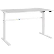 Schreibtisch Moxxo IQ, elektrisch höhenverstellbar, Rechteck, C-Fuß, B 1600 x T 800 x H 725-1185 mm, lichtgrau/weiß