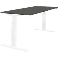 Schreibtisch NEVADA, einstufig elektrisch höhenverstellbar, B 1600 mm, dunkelgrau/weiß