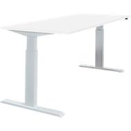 Schreibtisch NEVADA, einstufig elektrisch höhenverstellbar, B 1600 mm, weiß/alusilber