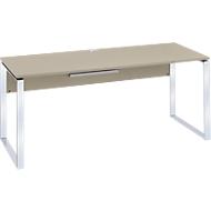 Schreibtisch Nizza, mit Kabeldurchlass, Kufengestell, B 1800 mm, sand