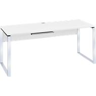 Schreibtisch Nizza, mit Kabeldurchlass, Kufengestell, B 1800 mm, weiß matt