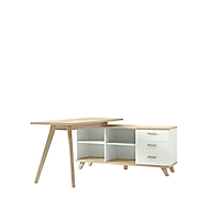 Schreibtisch OSLO mit Sideboard, B 1440 x T 1450 x H 750 mm, weiß/Sanremo-Eiche-Nb.
