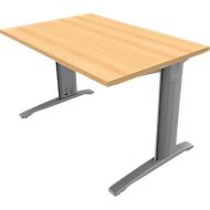 Schreibtisch PHENOR, im Fuß integrierte Kabelkanäle, Rechteck, C-Fuß, B 1200 x T 800 mm, Buche-Dekor